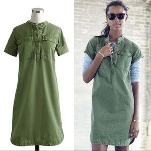 J. Crew Army green cotton military shirt dress 0